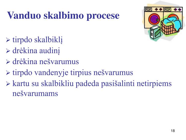 Vanduo skalbimo procese