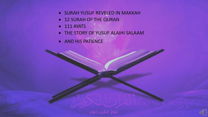 SURAH YUSUF REVELED IN MAKKAH