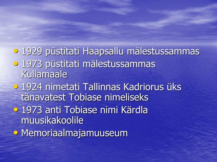 1929 püstitati Haapsallu mälestussammas