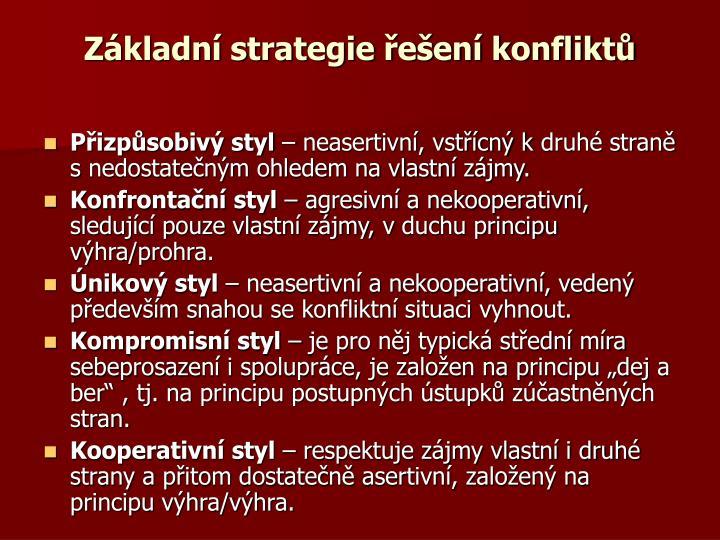 Základní strategie řešení konfliktů