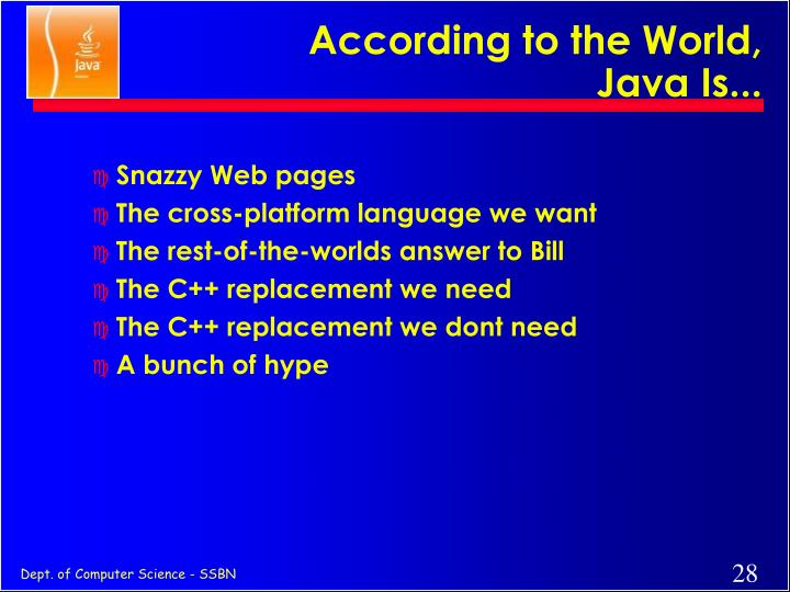 According to the World, Java Is...