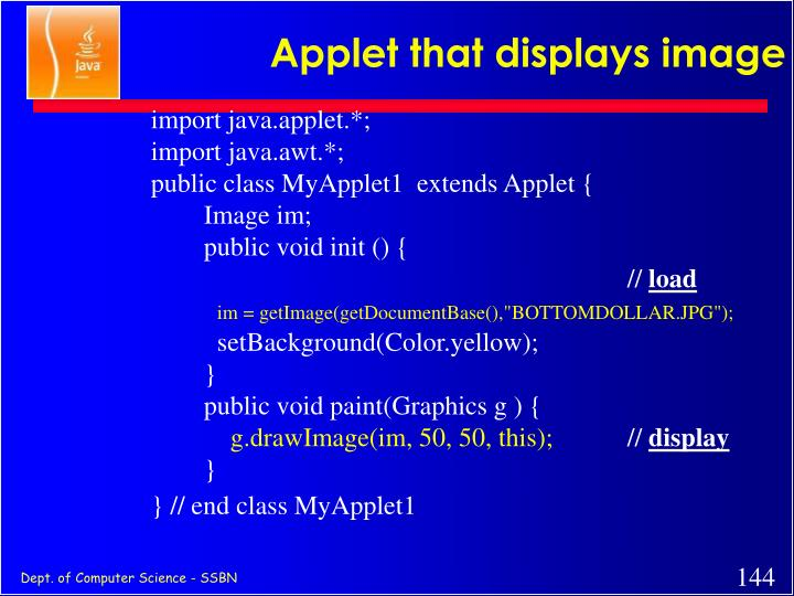 Applet that displays image
