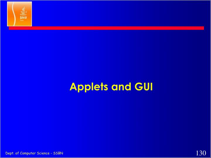 Applets and GUI