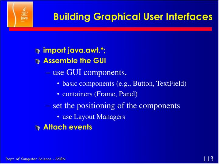 Building Graphical User Interfaces