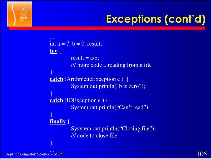 Exceptions (cont'd)