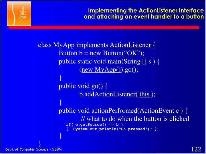 Implementing the ActionListener Interface