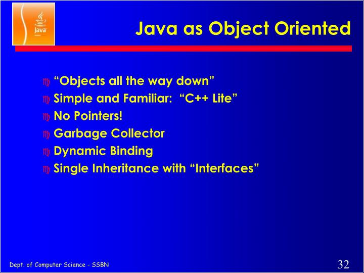 Java as Object Oriented