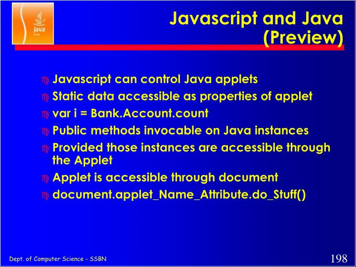 Javascript and Java (Preview)