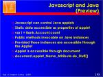 javascript and java preview