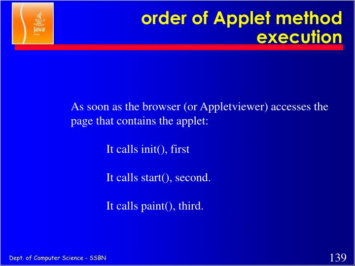 order of Applet method execution