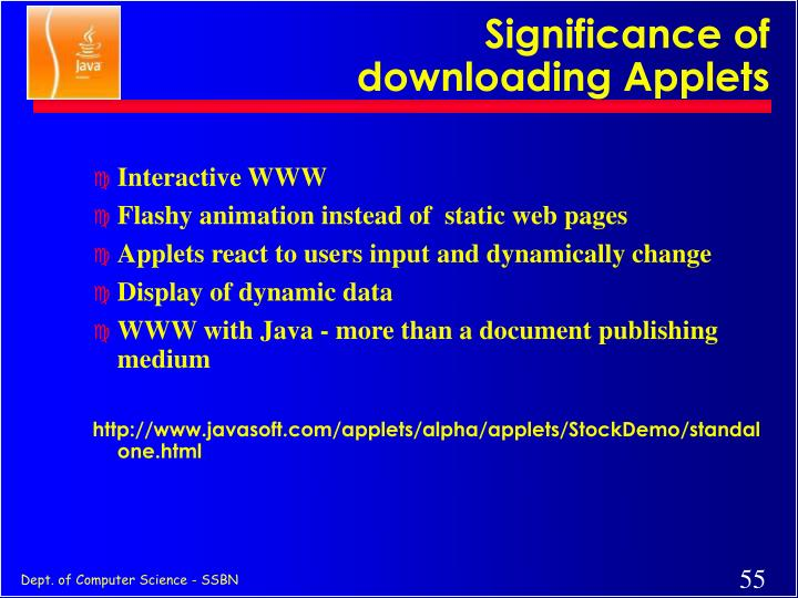Significance of downloading Applets