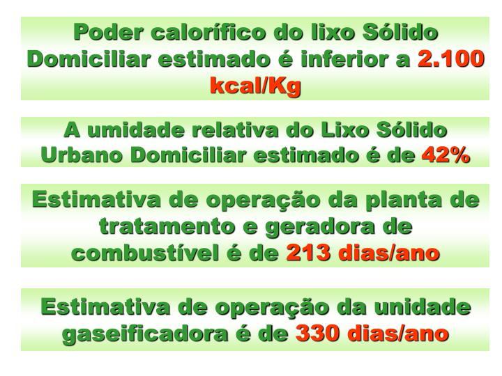 Poder calorífico do lixo Sólido Domiciliar estimado é inferior a