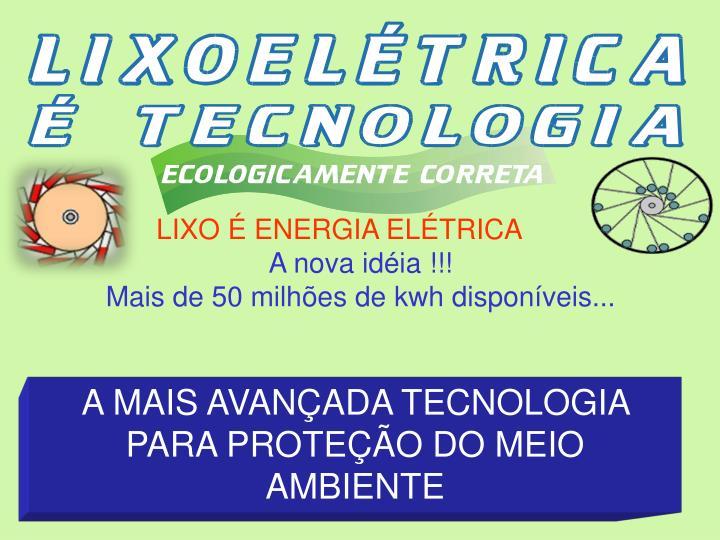LIXO É ENERGIA ELÉTRICA