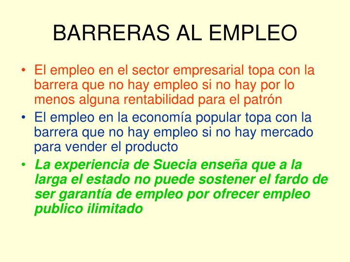BARRERAS AL EMPLEO