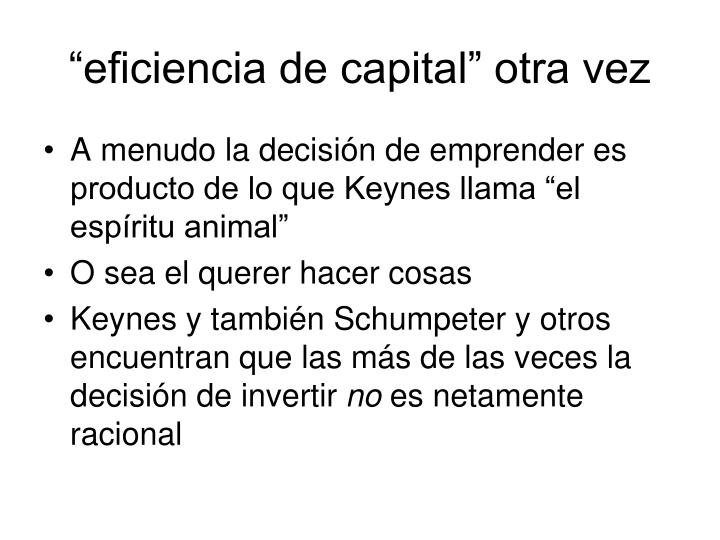 """eficiencia de capital"" otra vez"