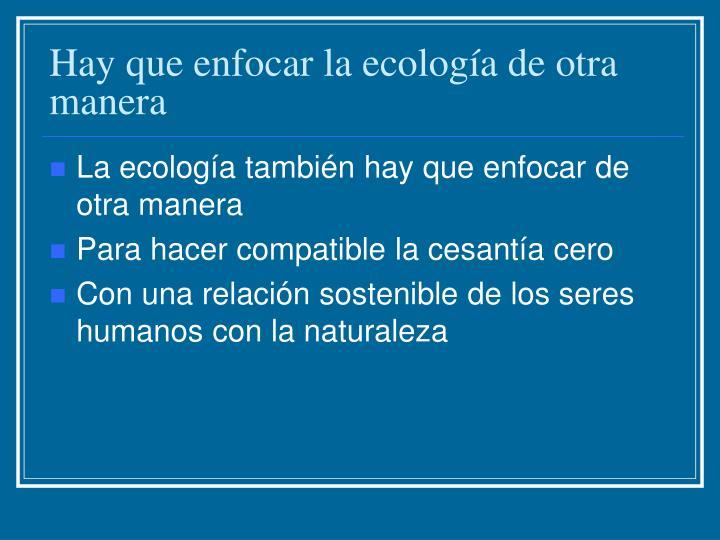 Hay que enfocar la ecología de otra manera