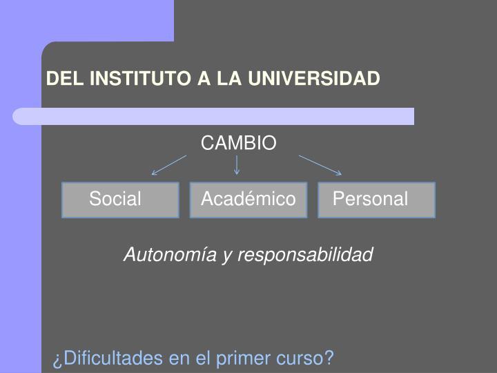 DEL INSTITUTO A LA UNIVERSIDAD