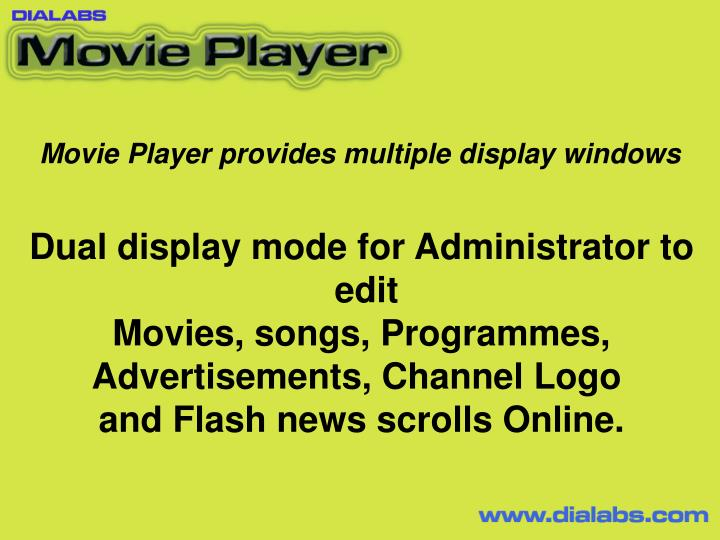 Movie Player provides multiple display windows