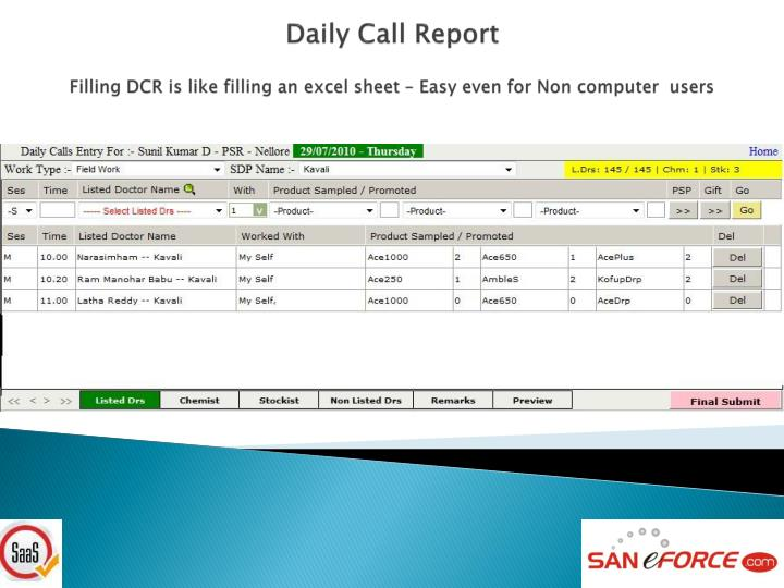 Daily Call Report