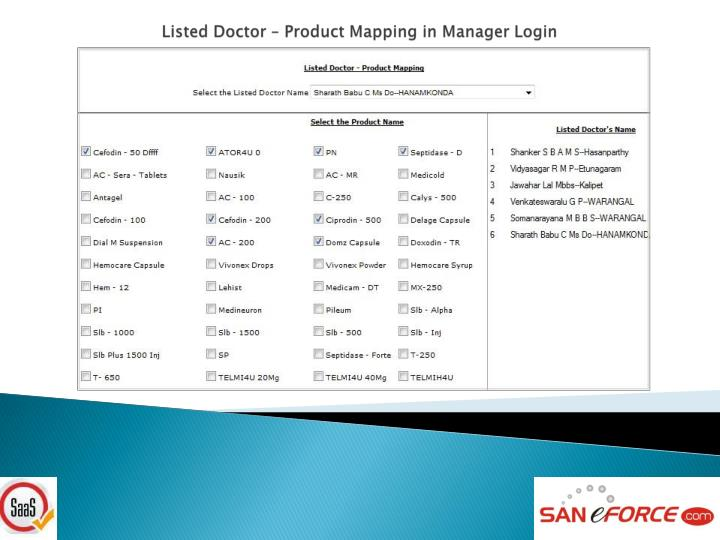 Listed Doctor – Product Mapping in Manager Login