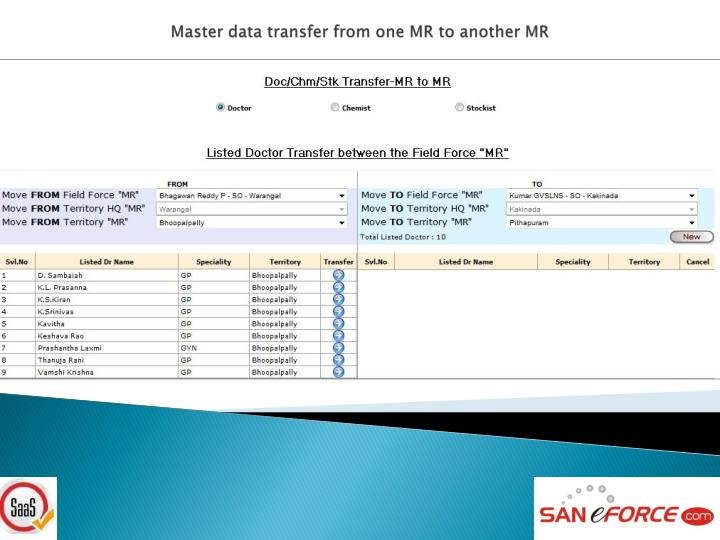 Master data transfer from one MR to another MR