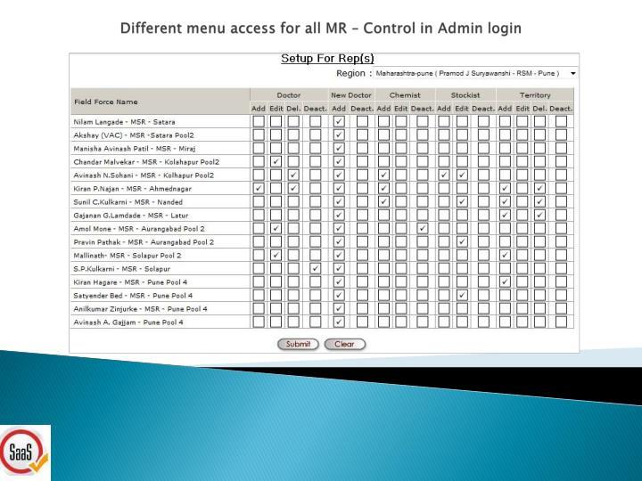 Different menu access for all MR – Control in Admin login