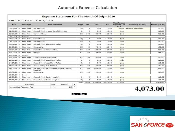 Automatic Expense Calculation