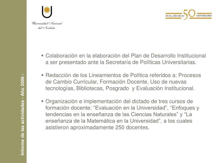 Colaboración en la elaboración del Plan de Desarrollo Institucional a ser presentado ante la Secretaría de Políticas Universitarias.