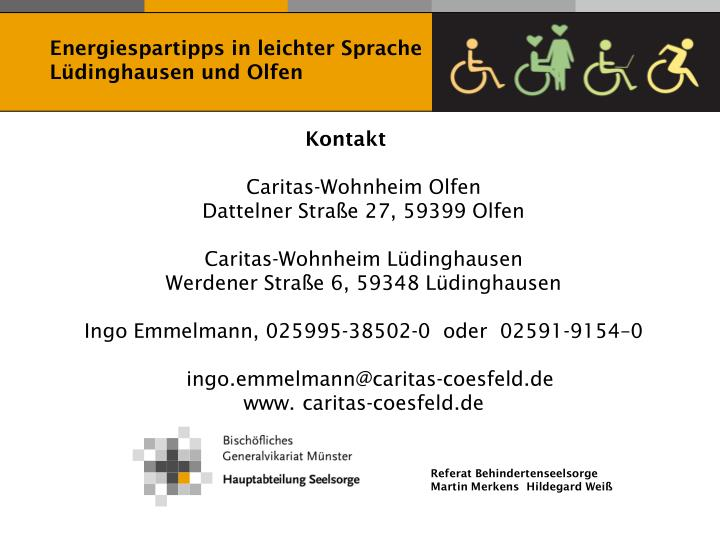 Energiespartipps in leichter Sprache Lüdinghausen und Olfen