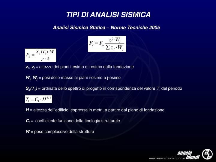 TIPI DI ANALISI SISMICA