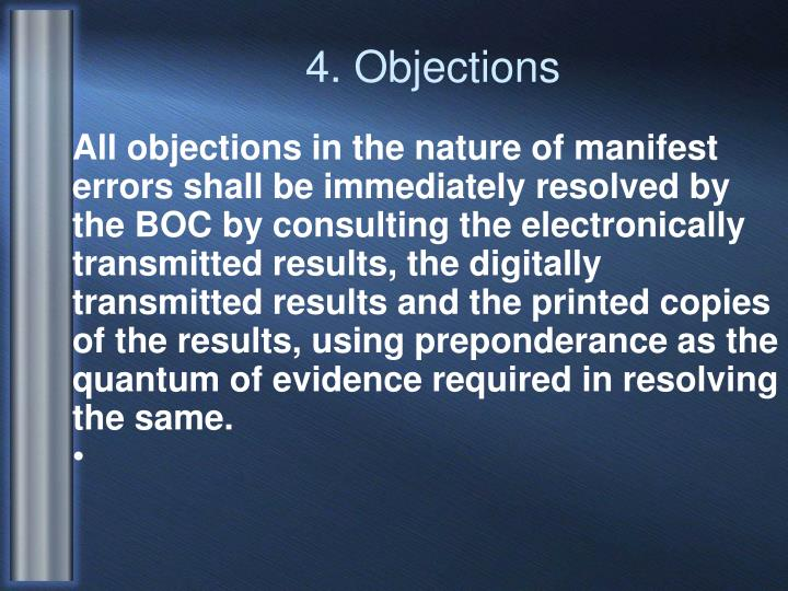 4. Objections