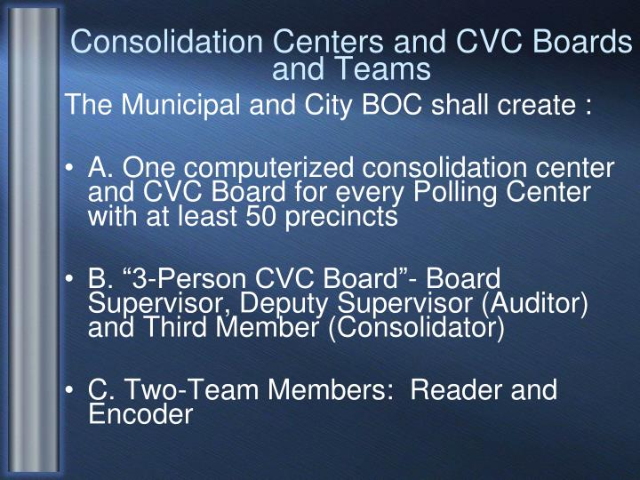Consolidation Centers and CVC Boards and Teams