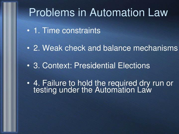 Problems in automation law