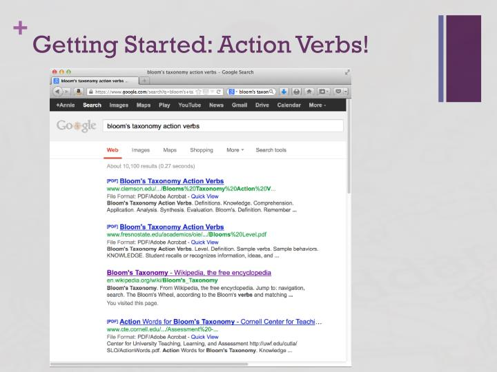 Getting Started: Action Verbs!