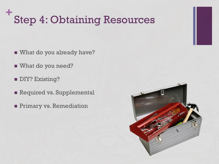 Step 4: Obtaining Resources