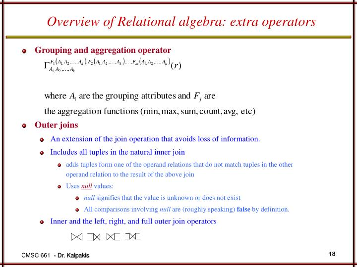 Overview of Relational algebra: extra operators