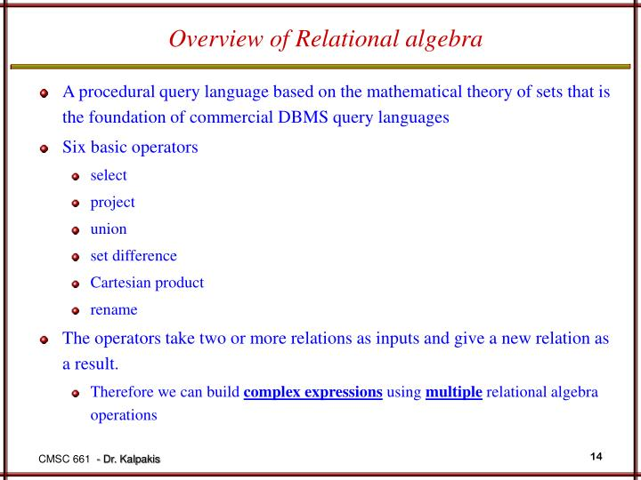 Overview of Relational algebra