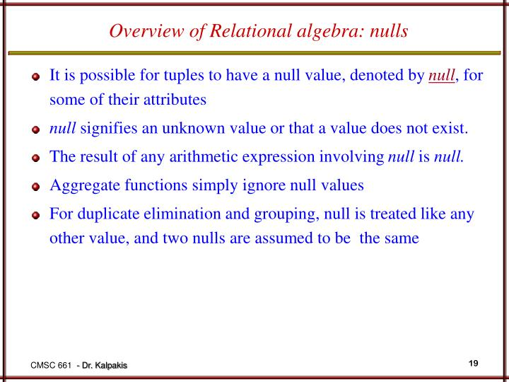 Overview of Relational algebra: nulls