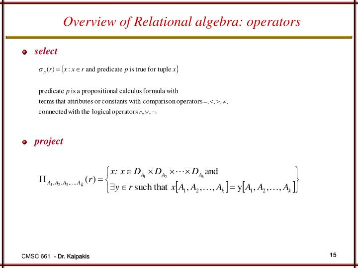 Overview of Relational algebra: operators