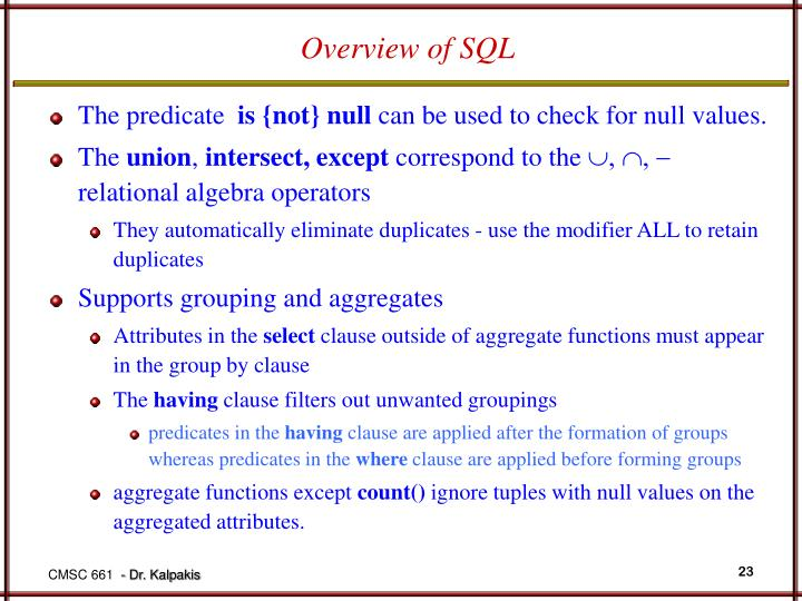 Overview of SQL