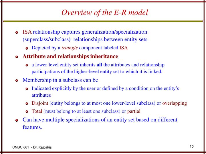 Overview of the E-R model
