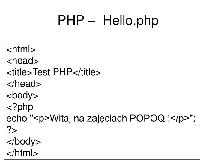 PHP –  Hello.php