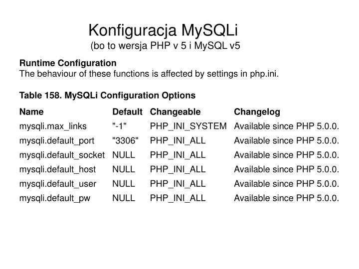 Konfiguracja MySQLi