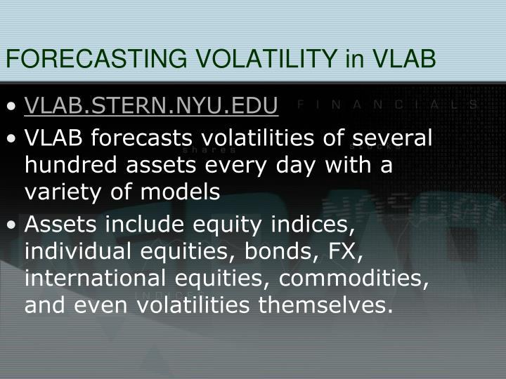 FORECASTING VOLATILITY in VLAB