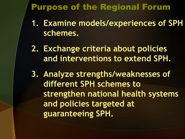 Purpose of the regional forum