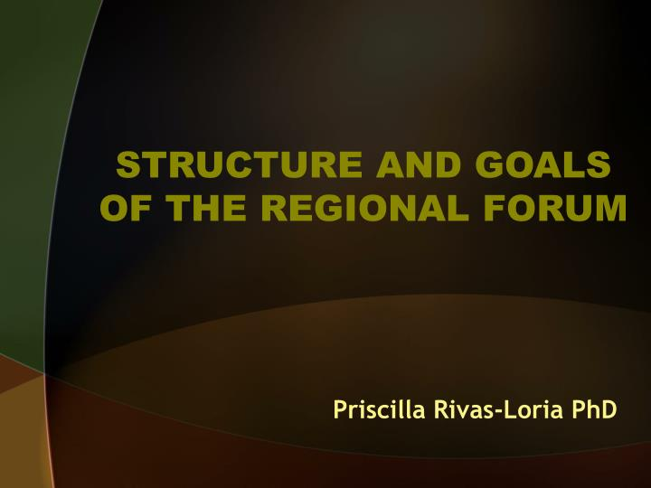 Structure and goals of the regional forum