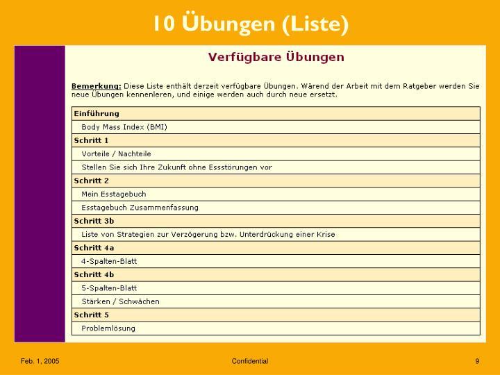 10 Übungen (Liste)