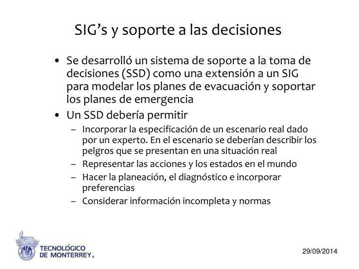 SIG's y soporte a las decisiones