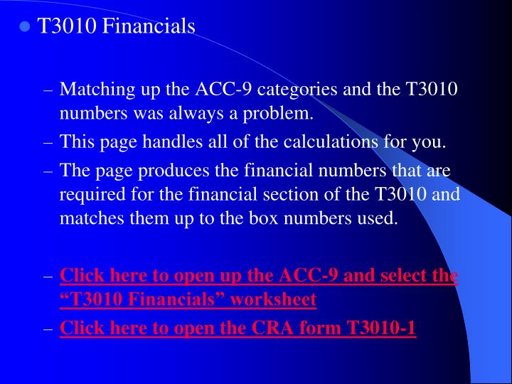 T3010 Financials