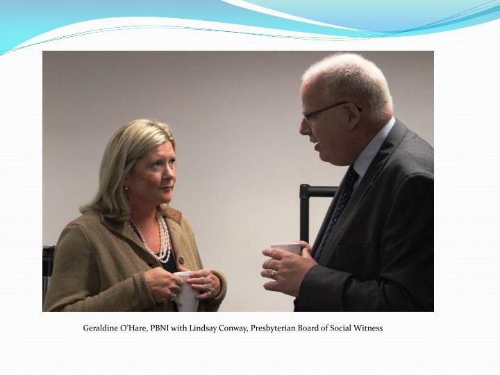 Geraldine O'Hare, PBNI with Lindsay Conway, Presbyterian Board of Social Witness